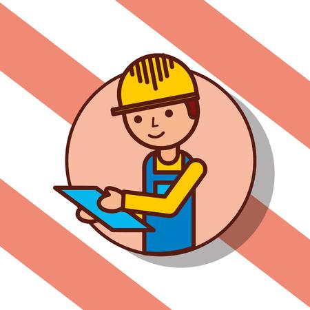 delivery man portrait cartoon holds clipboard vector illustration Illustration