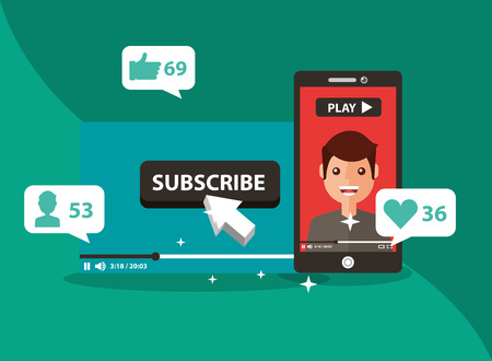 smartphone with man on screen subscribe popular channel vector illustration