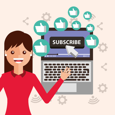 young woman subscribe channel laptop likes vector illustration