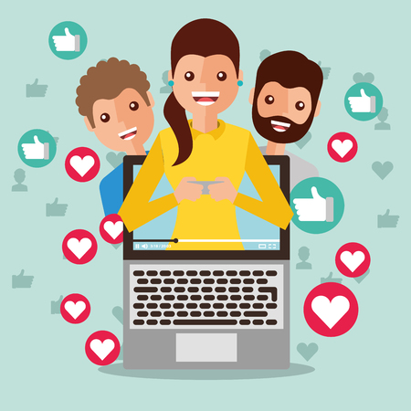 woman blogger on screen viral content people followers like love vector illustration