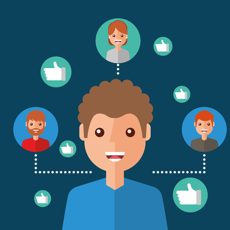 man character viral content people connection vector illustration