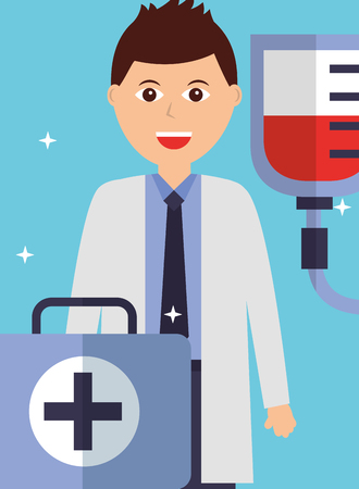 young doctor with kit first aid and blood bag vector illustration
