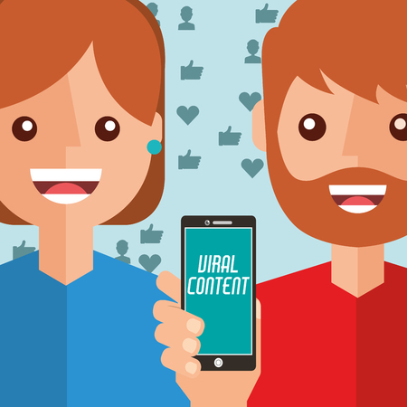 man and woman smartphone viral content vector illustration