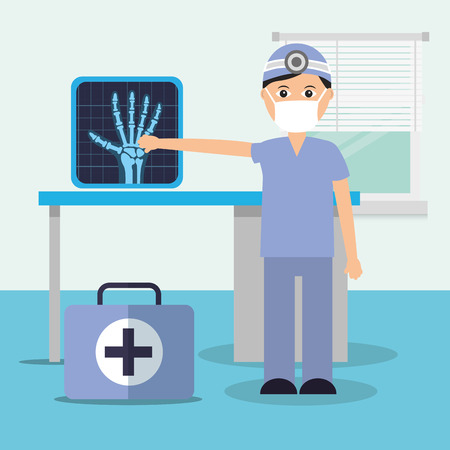 doctor in consulting room x ray diagnostic and suitcase vector illustration