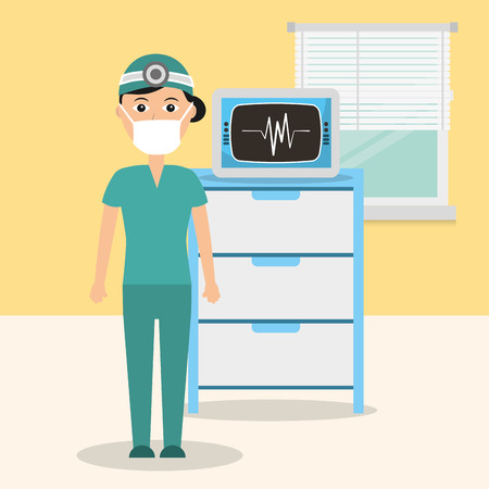 doctor in consulting room with monitoring machine vector illustration Illustration