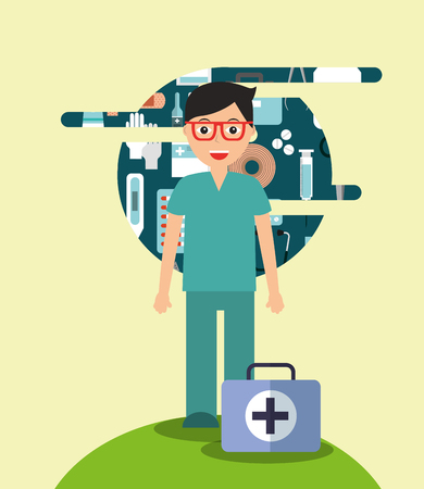 doctor in glasses with kit medical hospital work vector illustration