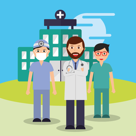 doctor nurse and surgeon staff medical team hospital vector illustration Иллюстрация