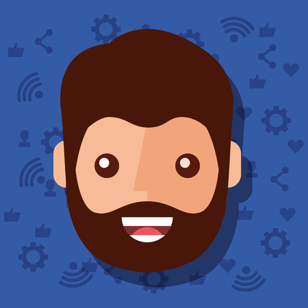 man face character with social media networks icons background vector illustration