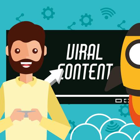 smiling man smartphone in hands viral content rocket vector illustration Ilustrace