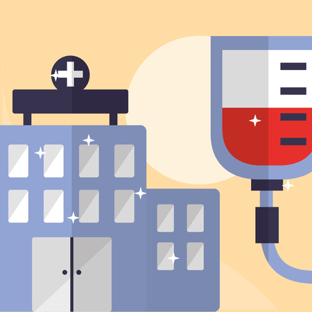 hospital building healthy care and blood bag vector illustration