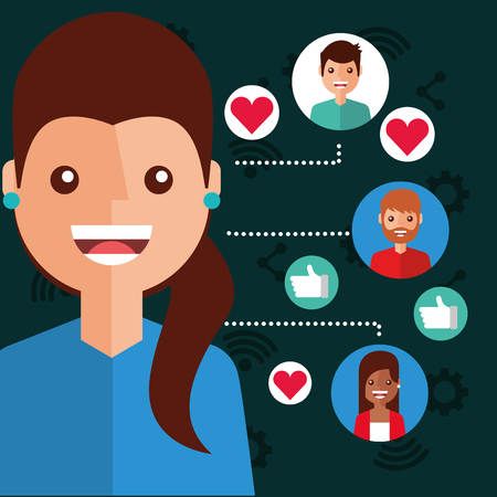 smiling woman viral content people connection vector illustration Illustration