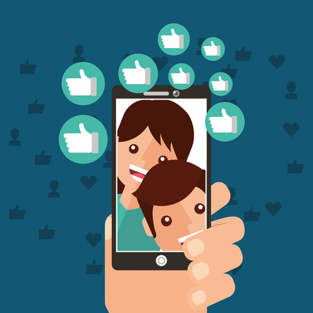 hand with smartphone viral content people views followers vector illustration