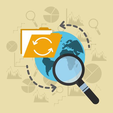 global storage file analysis copying data vector illustration