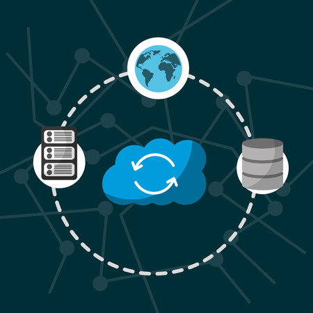 cloud computing storage refresh data server global connection vector illustration