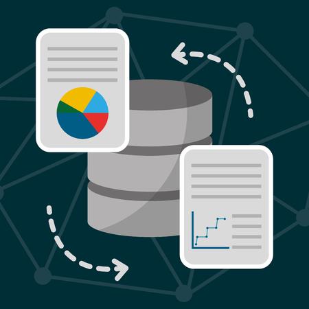 data server center technology information report transfer vector illustration