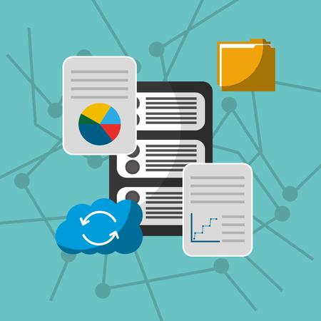data server cloud storage sync reload files technology vector illustration