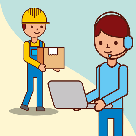delivery man with a box and operator man holds laptop vector illustration