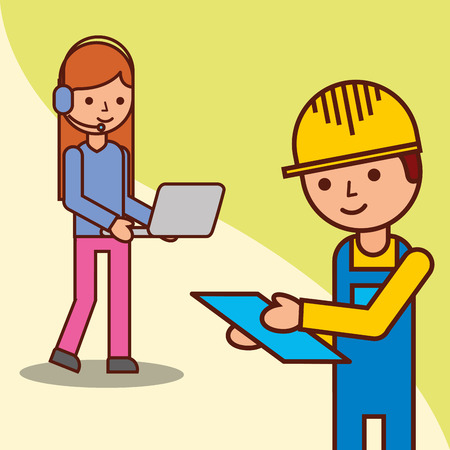 delivery man checking and operator woman holding laptop vector illustration