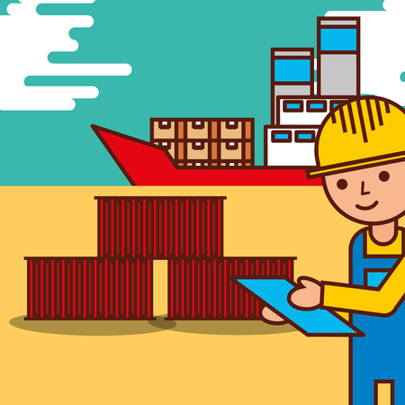 delivery man checking clipboard logistic containers boat cargo vector illustration