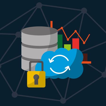 data center technology cloud storage web internet security vector illustration