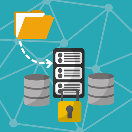 data server center security information technology vector illustration Illustration