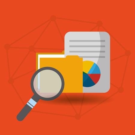document file folder searching analysis vector illustration