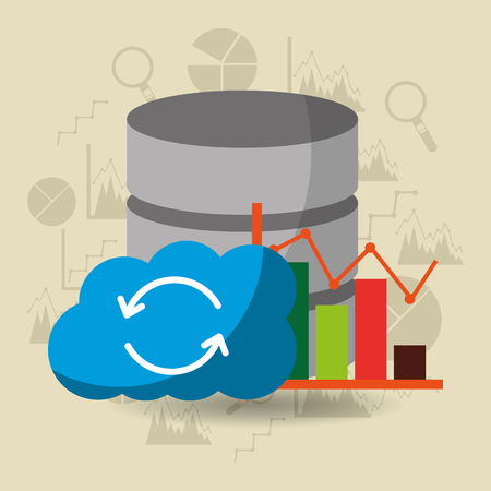 data server center cloud storage refresh statistics vector illustration