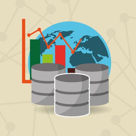Global network data server Illustration