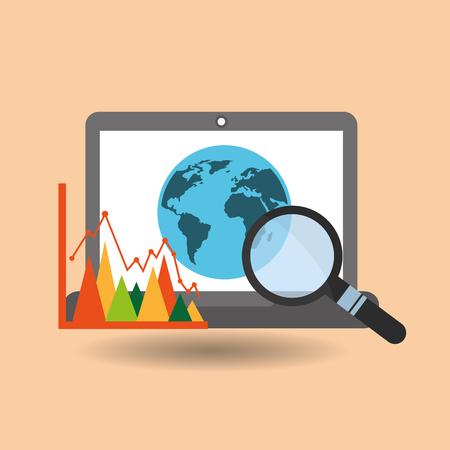 Laptop global searching statistics Ilustração