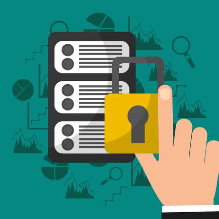 Hand with security padlock big data technology Çizim