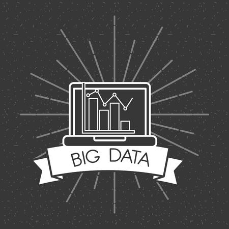 big data laptop bar graph business dark background vector illustration Stock Vector - 100642434