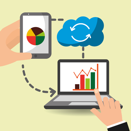 hand with laptop smartphone sharing data cloud storage vector illustration