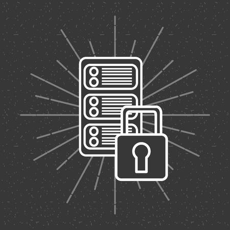 big data server security protection dark background vector illustration