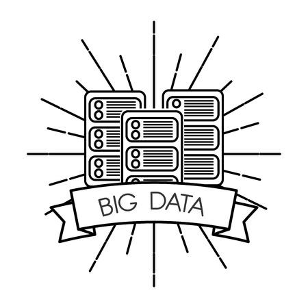 big data server center and banner white background vector illustration Illustration