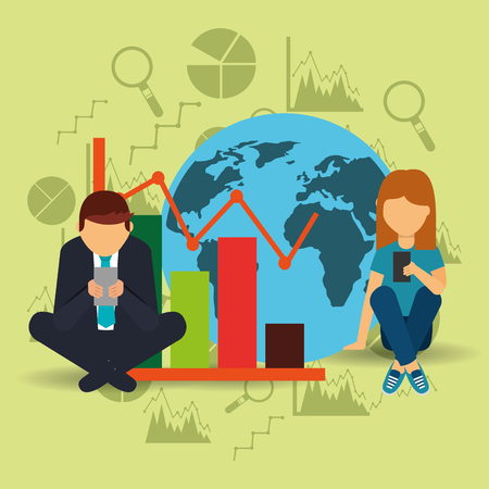 businessman and woman sitting with smartphone with global graph vector illustration
