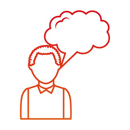 man talking with speech bubble vector illustration design