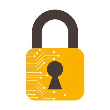 safe secure padlock with circuit electric vector illustration design Illustration