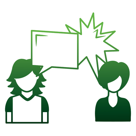 couple talking with speech bubbles vector illustration design