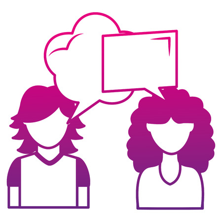 couple talking with speech bubbles vector illustration design Stok Fotoğraf - 100543524