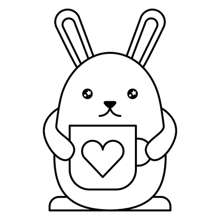 cute rabbit with cup  character vector illustration design