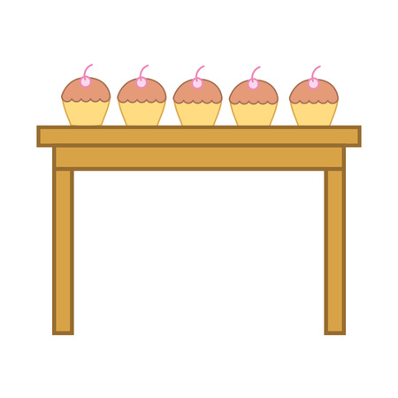 table with delicious cupcakes vector illustration design