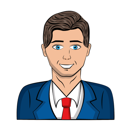 man character with tuxedo pop art style vector illustration design Иллюстрация
