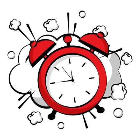 alarm clock pop art style vector illustration design Illustration