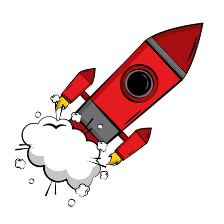 Start up rocket pop art style vector illustration design