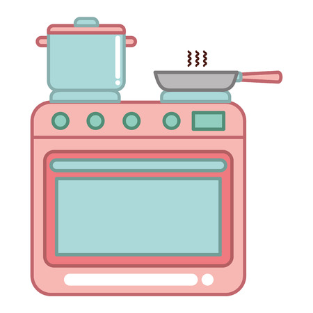 oven kitchen with pot and pan vector illustration design Ilustrace