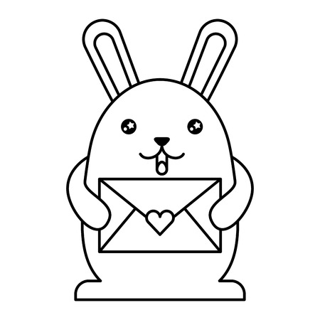 cute rabbit with envelope character vector illustration design