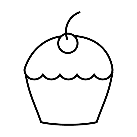 delicious cup cake with cherry icon vector illustration design