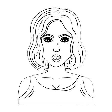 woman character whit short hair pop art style vector illustration design Illusztráció
