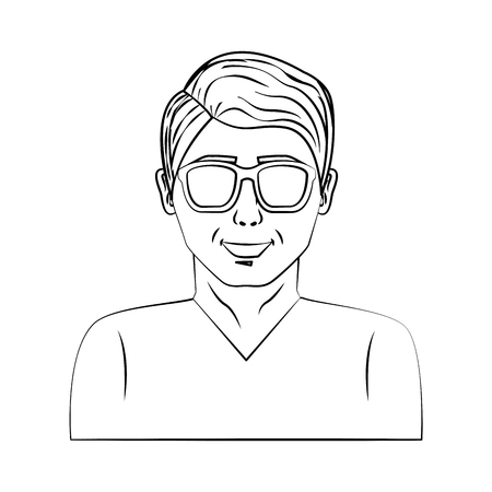 man character with eyeglass pop art style vector illustration design