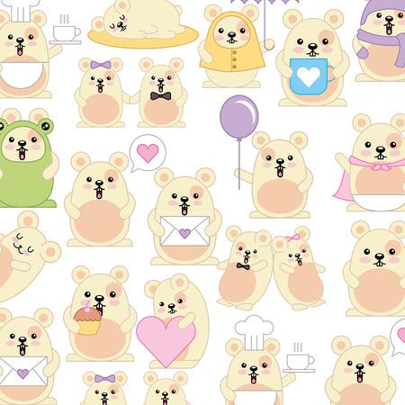 cute hamsters pattern character vector illustration design Illustration